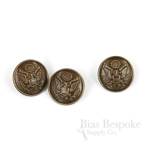 US Army Antique Brass Uniform Buttons in Three Sizes, Made