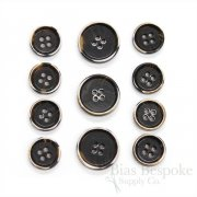 RYKER Dark Brown Modern Burnt-Edge Suit Buttons, Made in Italy