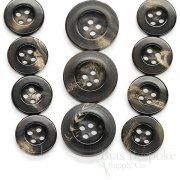 Sleek Deep Brown Real Buffalo Horn Suit Buttons, Made in Germany