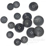 Dignified Gray-Blue Buffalo Horn Jacket Buttons, Matte Finish