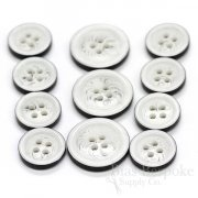 Unusual White & Black Suit Buttons, Made in Germany