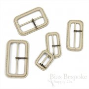 Beige Leather Buckles with Antique Brass Pins, Made in Italy
