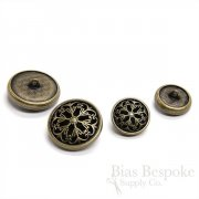 Antique Brass Rimmed Filigree Buttons in Two Sizes