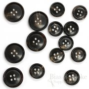 Brownish Black First-Class Genuine Horn Suit Buttons, Made in Germany