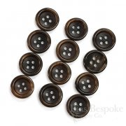 Classic Dark Brown Genuine Horn Trouser Buttons, Made in Germany