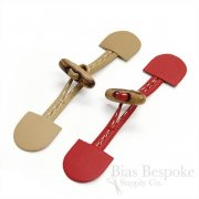 "6 1/2"" Red and Tan Bonded Leather and Wood Toggle Closures, Made in Italy"