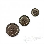 Dark Brown Leather 4-Hole Buttons in Three Sizes, Made in Italy