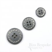 Stone Gray Leather 4-Hole Buttons in Three Sizes, Made in Italy
