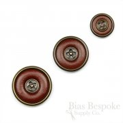 Red Brown Leather Suit & Overcoat Buttons with Antique Brass Detailing, Made in Italy