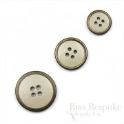 Beige Leather Suit & Coat Buttons with Metal Rims, Made in Italy