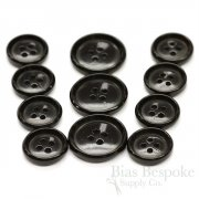 Black First-Class Real Horn Suit Buttons, Made in Germany