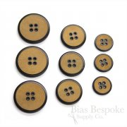 Modern Caramel & Black Buffalo Horn Suit and Coat Buttons, Made in Italy