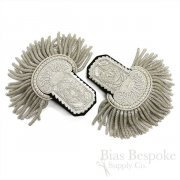 Brilliant Silver Bullion Wire Sequin Embroidered Fancy Dress Epaulettes