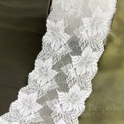 "6"" Wide Tropical Floral White Stretch Lace Trim"