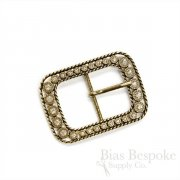 Antique Gold Rectangular Rhinestone Belt Buckle