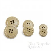 Buff Tan Colored Leather 4-Hole Buttons, Made in Italy