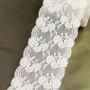 "5 1/2"" Wide Rigid Off-White Floral Lace Trim"