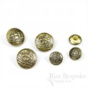 Antique Gold Sailing Ship Buttons, Made in France