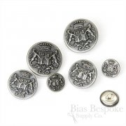 Detailed Antique Silver Coat of Arms Buttons, Made in France