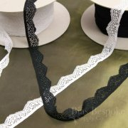 Black and White Narrow Stretch Lace Trim, Made in France