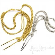 BEAU Braided Aiguillette with Metal Tips, Gold and Silver