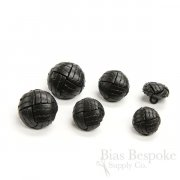 Thick, Classic Top-Stitched Black Leather Buttons, Made in Italy