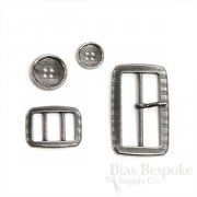 Parallel Lines Antique Silver Buckles for Trousers and Belts, Made in Italy