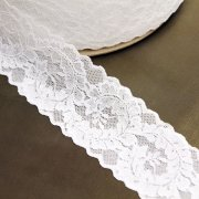 "2 1/2"" Wide White Leaves Stretch Lace Trim"