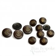 Dark Brown Leather Suit & Coat Buttons with Inset Metal Crests, Made in Italy