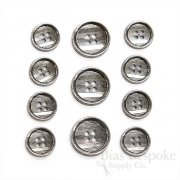 Parallel Lines Silver Metal Suit Buttons, Made in Italy