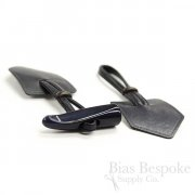 "7 3/4"" Navy Blue Leather and Horn Toggle Closure, Made in Italy"