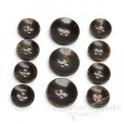 Modern Dark Brown Genuine Horn Suit Buttons, Made in Germany