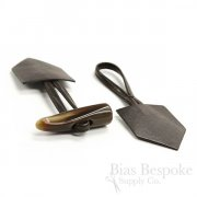 "7 1/2"" Dark Brown Leather and Horn Toggle Closure, Made in Italy"