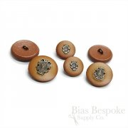 Caramel Leather Buttons with Inset Metal Crests, Made in Italy