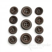 Simple Dark Brown Leather 4-Hole Buttons, Made in Italy