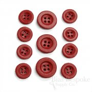 Simple Scarlet Red Leather 4-Hole Buttons, Made in Italy