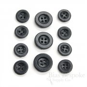 Simple Charcoal Gray Leather 4-Hole Buttons, Made in Italy