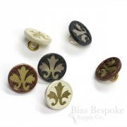 Fleur-de-lis Two-Metal Stamped Buttons, Made in France