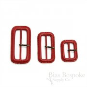 Scarlet Red Leather Buckles with Antique Brass Pins, Made in Italy