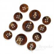 Sharp, Classic Burnt Caramel Buffalo Horn Suit Buttons, Made in Germany