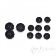 LUCA Classic Faded Matte Black Corozo Suit Buttons, Made in Italy