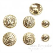 Pale Gold Anchor Suit and Coat Buttons, Made in Italy