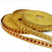 "CALDARA 3/4"" Metallic Gold Trim with Satin-Stitch Dots"