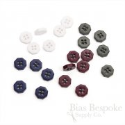 Octagon-Shaped Shirt Buttons in Four Colors, Made in Italy