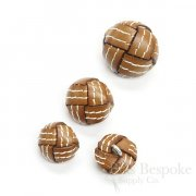 Superchic Caramel Colored Leather Buttons in Three Sizes, Made in Italy