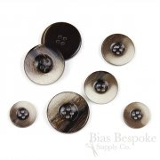DANE Polished Horn-Effect Dark Brown Coat Buttons, Made in Italy