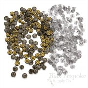 Set of 144 Classic Antique Brass Three Ring Star Rivets for Jeans