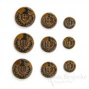Brown Lacquered Horn Coat of Arms 4-Hole Buttons for Suits and Coats, Made in Italy