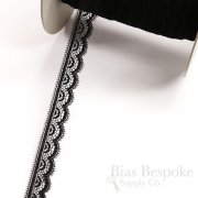 "3/4"" Wide Black Stretch Scallop Lace Trim, Made in France, Sold by the Yard"