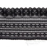"3 1/4"" Wide Geometric Floral Black Stretch Lace Trim, Made in France"